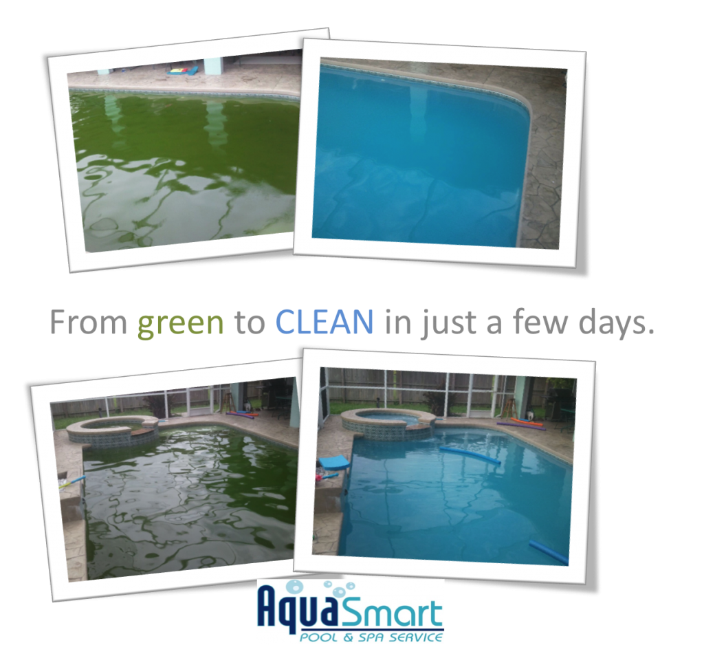 Pool Cleaning Before And After : Before after from greento clean aquasmart pool